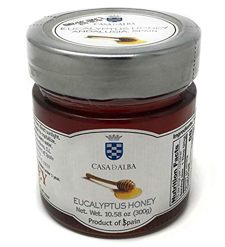 Casa-d-Alba Eucalyptus Artisinal 100% Natural Honey – 300g Top Quality Premium European Pure Raw Unfiltered Honey with High Eucalyptus Bee Pollen Count – Non GMO Superfood– Kosher – Made in Spain