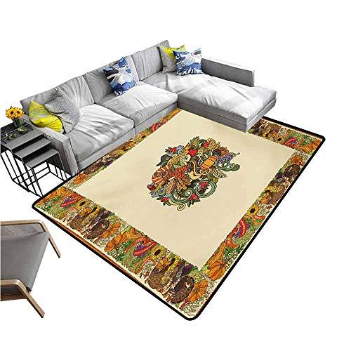 Bath Mat Set Kitchen Door Thanksgiving,Pumpkin Wreath Bow Cranberry Leaves Ivy Corn Basket Traditional Pattern Fall,Multicolor 48