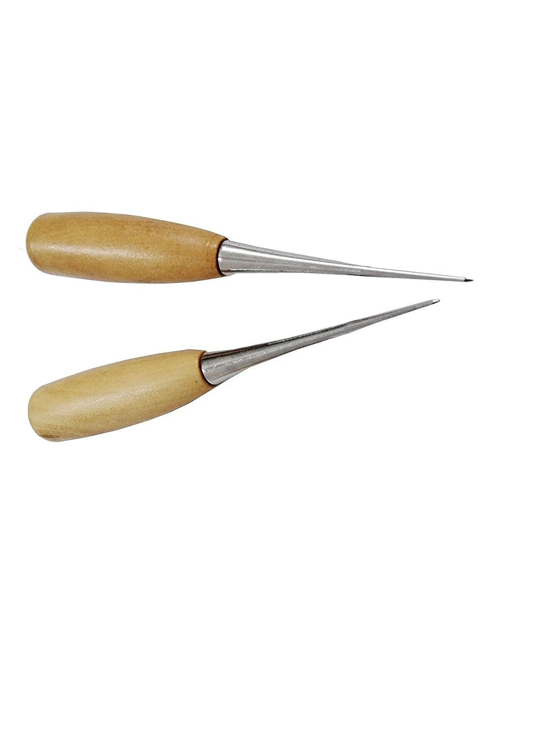 MAGIKON 2-Pack Wooden Handle Leather Stitching Sewing Awl Repair Tool Round