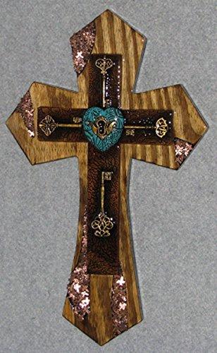 decorative wall cross, keys w/turq. - Cross Turq