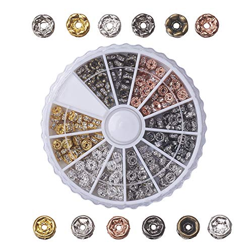 PH PandaHall About 240pcs 4mm 6 Colors 2 Styles Brass Rondelle Spacer Beads Round Rondelle Crystal Rhinestone Charms Beads Jewelry - Bronze Rhinestone Crystal