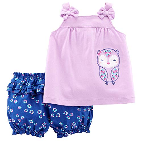 Carter's Child of Mine Owl Baby Girl 2 Piece Top and Shorts Outfit Set (0-3 Months) ()