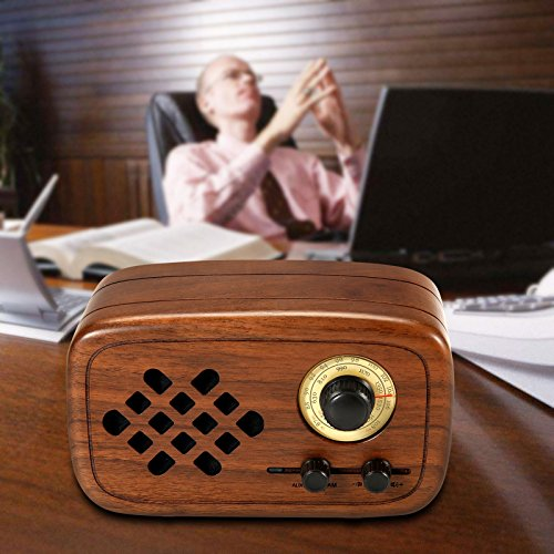 Rerii Handmade Walnut Wood Portable Bluetooth Speaker, Bluetooth 4.0 Wireless Speakers with Radio FM/AM, Nature Wood Home Audio Bluetooth Speakers with Super Bass and Subwoofer by Rerii (Image #3)