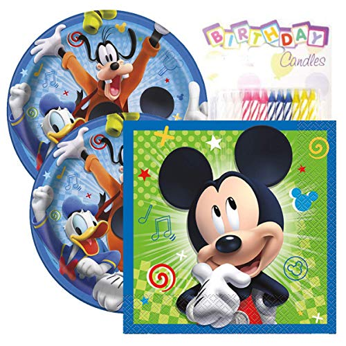 Mickey Mouse Themed Party Pack – Includes Paper Plates & Luncheon Napkins Plus 24 Birthday Candles – Servers -