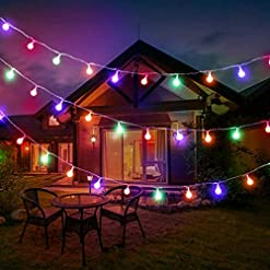 Solar String Lights Outdoor Garden, Solar Powered 20 LED Globe Patio Hanging Lights IP65 Waterproof Retro Clear Ball… Amazon choices stars