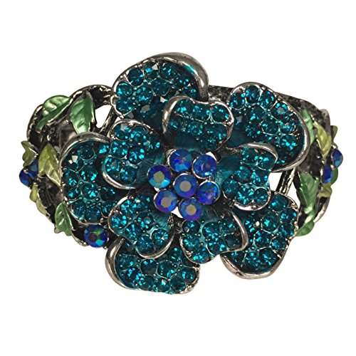 Rhinestone Rose Stunning Statement Flower Hinged Bangle Bracelet - Assorted Colors (Aqua Blue) (Aqua Rhinestone Bracelet)