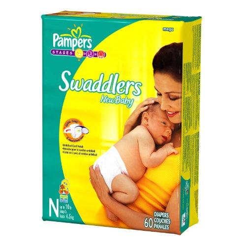 Pampers Swaddlers Newborn – Mega Pack 60 Ct Newborn 0-10 lbs (Dry Max), Health Care Stuffs