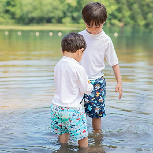 i play. by green sprouts baby-boys Trunks with Built-in Reusable Swim Diaper,Aqua Wavy Nautical,4T