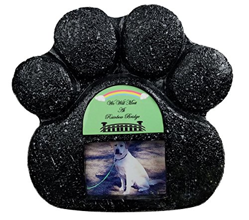 Rainbow Bridge Black Paw Print Pet Memorial Indoor Faux Stone Urn for Dog or Cat Ashes with Photo Window and Sentiment by Imprints Plus (1007 (Sentiment Tags)