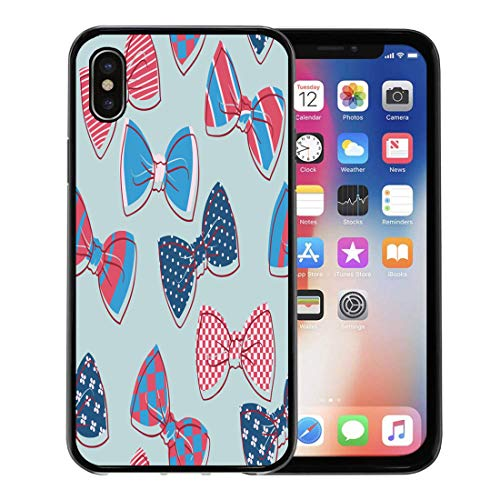 Emvency Phone Case for Apple iPhone Xs case,Pattern Color Butterfly Tie Bow Bowtie Cute Hipster Neck for iPhone X Case,Rubber Border Protective Case,Black