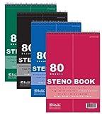 4Pk, BAZIC 80 Sheets 6'' X 9'' Green Tint Gregg Ruled Steno Book
