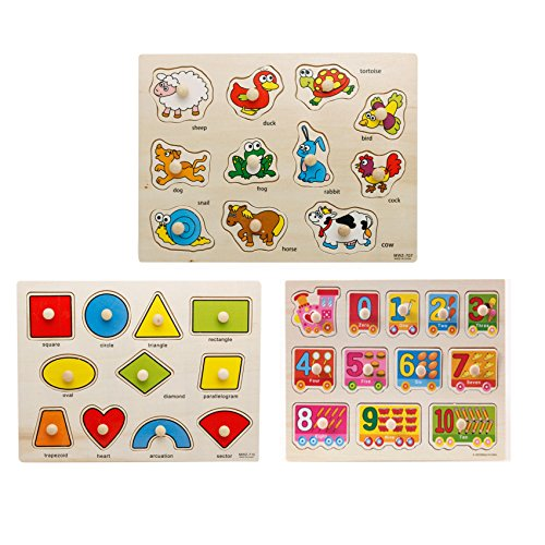 LASLU 3-Pack Wooden Kids Children Jigsaw Education And Learning Puzzles Toys,Highest Quality Materials,Fit For 1-3 Years Baby,Training Kids Imagination,Non-toxic Paints(Number,Shapes and Farm Animals) (Kids Puzzles With Knobs)