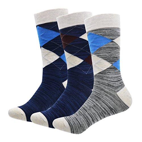 Men's Cotton Dress Socks Okiss Colorful Patterned Winter Crew Socks - Pack of 3 / 5