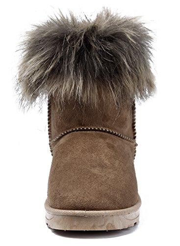 Pluie Doubl Femmes Neige Shoes Fourrure Ageemi Bottes wz8Bqx