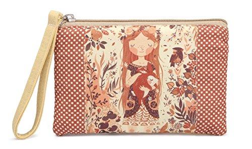 Crest Design Cute Canvas Smartphone Wristlets Cash Coin Purses, Make Up Bag, Cellphone Clutch Purse With Wrist Strap (khaki ()