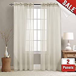 Sheer Curtains 84 inches Long for Living Room Rod Pocket Sheer Window Curtain Panels for Bedroom Voile Curtain Set (1 Pair, Nature)