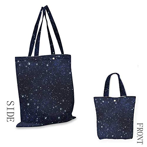 NightShopping bag seriesStar Filled Dark Sky Vivid Celestial Theme Cosmos Galactic Cluster ConstellationInsulated shopping bag W15.75 x L13.78 Inch Dark Blue White (Partridge Bag Family Shopping)
