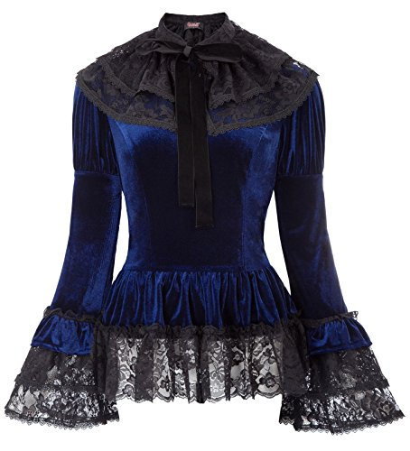 Women Gothic Victorian Corset Velvet Top Steampunk Blouse SL25-1 Navy Blue XL