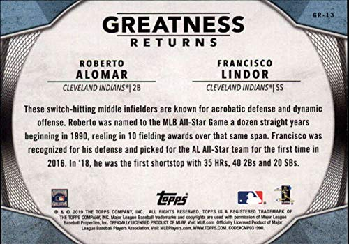 2019 Topps Greatness Returns Baseball #GR-13 Roberto Alomar//Francisco Lindor Cleveland Indians Official MLB Trading Card By Topps