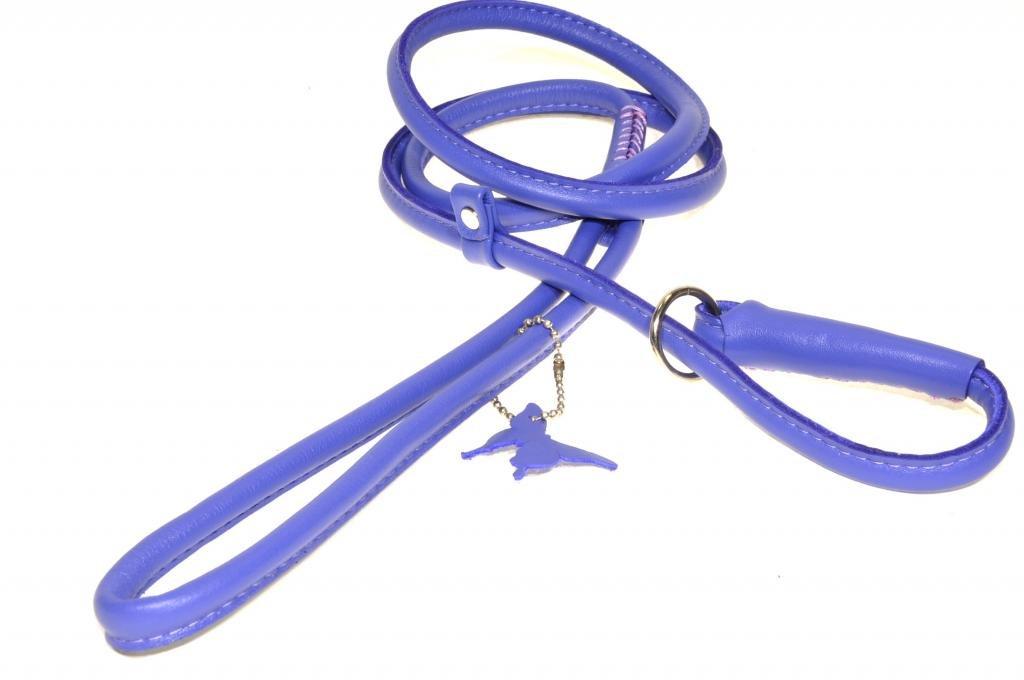 Dogline Soft Padded Rolled Round Leather Dog Slip Lead Kennel Leash, Purple, 53 x 1 3-Inch