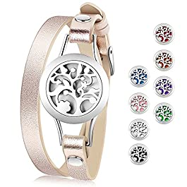 Essential Oil Diffuser Bracelet,Stainless Steel Aromatherapy Locket Bracelets Leather Band with 8 Co
