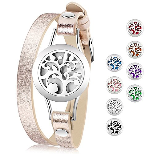Essential Oil Diffuser Bracelet,Stainless Steel Aromatherapy Locket Bracelets Leather Band with 8 Color Pads,Girls Women Jewelry Gift Set (Diffuser Gift Set)