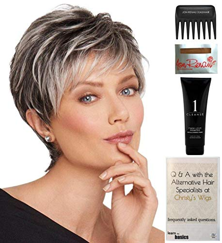 Bundle - 5 items: Crushing on Casual Wig by Raquel Welch, Christy's Wigs Q & A Booklet, 2oz Travel Size Wig Shampoo, Wig Cap & Wide Tooth Comb - Color: R56/60 ()