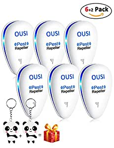 Ultrasonic Pest Repeller, OUSI 6 PACK Mouse Repellent Electronic Plug with Night Light Bug Repellent for Indoor Insects, Mice, and Spiders, Ants Non-toxic Human & Pet Safe Bonus 2pcs Key Chain