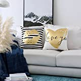 HOME BRILLIANT Outdoor Accent Pillows Covers Golden Print Velvet Cushion Covers for Bench Couch Bed, Lip and Love You, 18x18 inch(45x45cm), 2 Pack