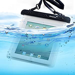 Almatess Universal Waterproof Tablet Case with Lanyard Protective Multi Function Marine for iPad Mini / iPad Mni Retina / iPad / iPad Air / Kindle / Kindle Paperwhite / Kindle Fire (White)