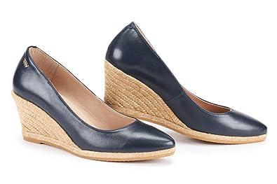 9de5243a93b VISCATA Handmade in Spain Roses Leather 2.75-inch Elegant Style, Slip-on  Wedge Pump, Espadrilles Heel