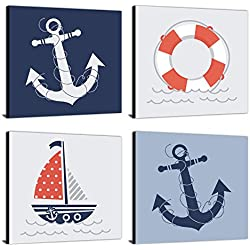 "Ahoy - Nautical - Kids Room, Nursery & Home Decor - 11"" x 11"" Kids Wall Art - Set of 4 Prints"