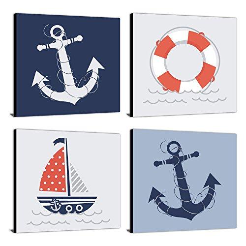 """Ahoy - Nautical - Kids Room, Nursery & Home Decor - 11"""" x 11"""" Kids Wall Art - Set of 4 Prints"""