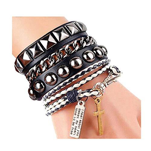 Y-blue Street Rock Punk Leather Multilayer Bracelet 8 Color (SR0309-Black+White)