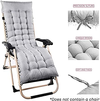 Yous Auto Sun Lounger Cushions,Replacement Sunbed Cushion Cover Pad Garden Furniture Cushions Portable Garden Patio Thick Chair Pad for Travel Holiday Garden Indoor Outdoor,no chairs Grey