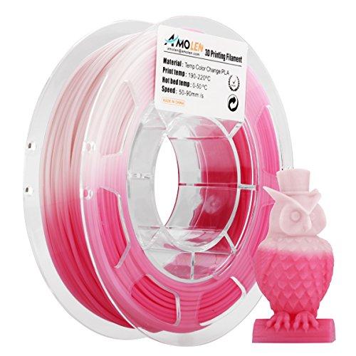 AMOLEN 3D Printer Filament, Temperature Color Change PLA Filament 1.75mm +/- 0.03 mm, 200G/0.44lb, Pink to White, includes Sample Temp Color Change Blue to White - 100% USA