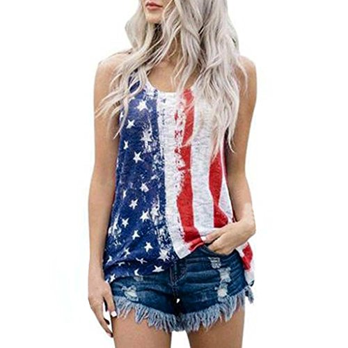 Clearance! Promotion! Women Vest Tops Seaintheson Women American Flag Print Sleeveless Tank Tops Casual Loose T-Shirts Summer Shirts Cami Lace Blouse (Black-4, (Mothers Day Yellow T-shirt)