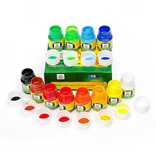 (12 Colors Washable Finger Paints for Babies Kid's Art Painting Set Kid Safe Finger Paint Supplies Mess Free Finger Paint Non Toxic)