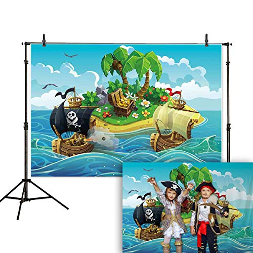 Allenjoy 7x5ft Pirate Backdrop Treasure Island Sea Coconut Tree Blue Sky and White Clouds Kids Birthday Party Baby Shower Photography Background Cake Table Banner Decoration Photo Booth Studio Props