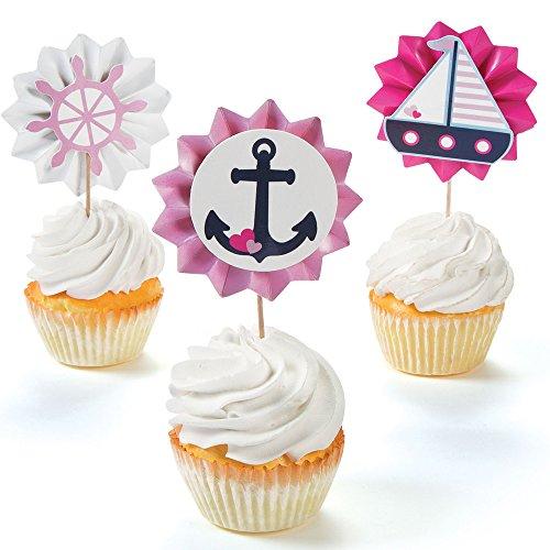 Nautical Girl Fan Food Cupcake Picks - 25 (Nautical Themed Food)