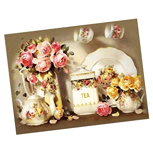 Prettyia Full Drill DIY Flower Tea Pot Crystal Diamond Rhinestone Painting Cross Crafts Stitch Kit Home Decoration