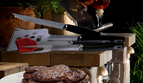 Grill Tool Set - Includes a Pair of Tongs, Barbecue Meat Fork, Silicone Basting Brush and a BBQ Grilling Spatula that can also be Used as a Bottle Opener and Meat Tenderizer. (4-Piece Set)