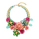 Zhenhui Statement Necklace for Women - Gold Chain Crystal Flower Statement Necklace Charm Pendant Necklace,Big Chunky Choker Jewelry for Clothing