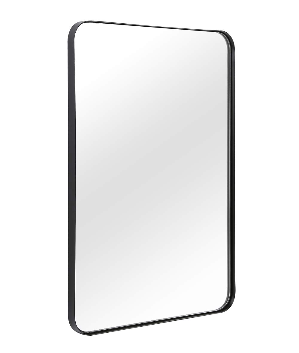 "Wall Mirror for Bathroom, Mirror for Wall with Black Metal Frame 22"" X 30"", Decorative Wall Mirrors For Living Room,Bedroom, Glass Panel Rounded Corner Hangs Horizontal Or Vertical"