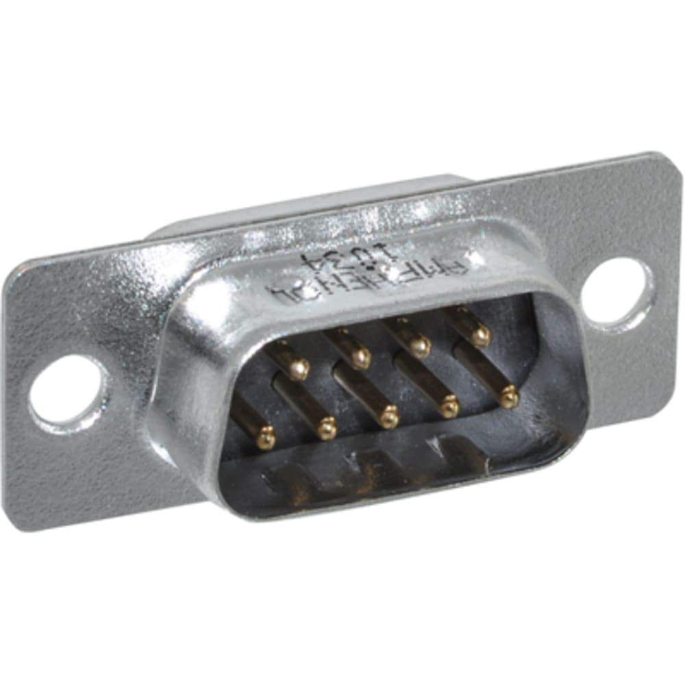 connector; d-sub; fixed contact solder cup plug; 9 stamped and formed pin contact, Pack of 100