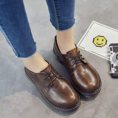 Oxfords T Leather JULY Women's Waterproof Low Shoes Classic for Shoes Brown Women Dress Patent Top up Lace Brogue RR4Yq