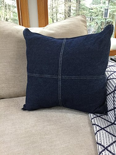 Nautica Seaward Denim 18-inch decorative pillow, 18 inch - Pieced with block design 100Percent Cotton denim Features double needle stitching - living-room-soft-furnishings, living-room, decorative-pillows, comforter-sets, bedroom-sheets-comforters, bedroom - 51wZhyWFGKL -