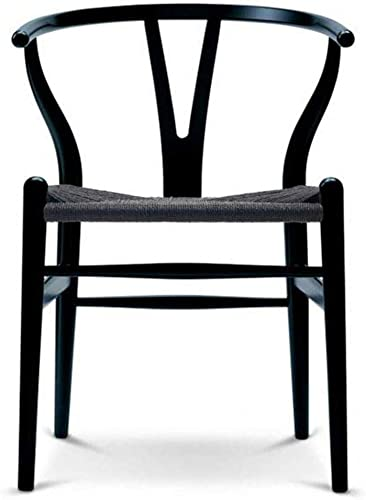 2xhome Black Wishbone Wood Armchair