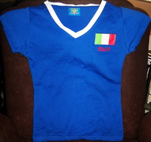 2010 WORLD CUP LADIES SPANDEX STRETCH italy SOCCER TSHIRT SIZE XL by JACKMAN