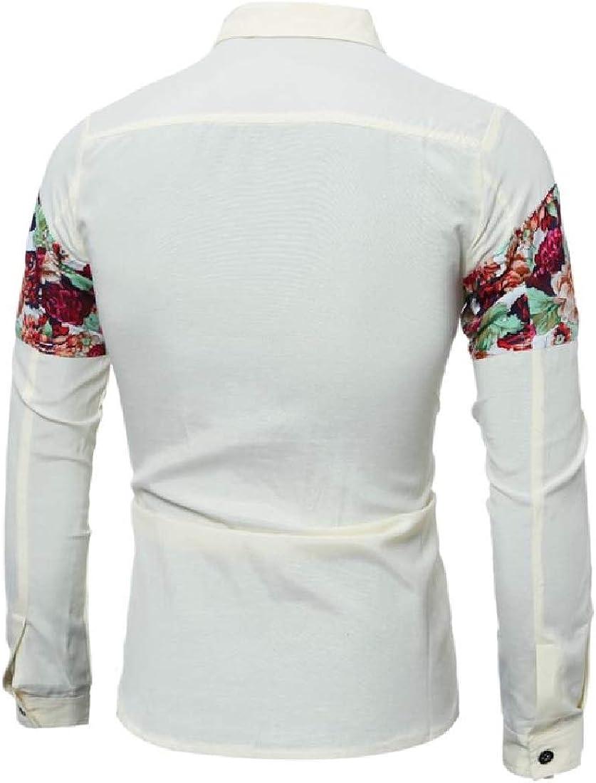 YUNY Men Single Breasted Poplin Tailored Fit Longshirt Dress Shirt Yellow XL